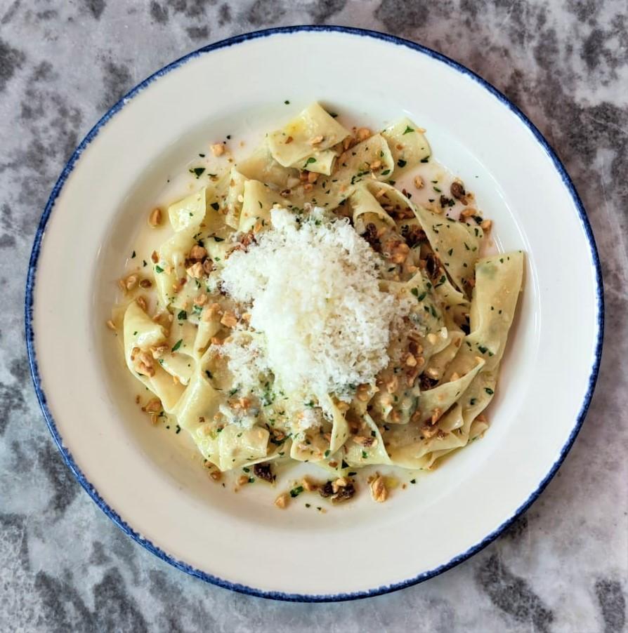 fresh pappardelle, gorgonzola dolce cream, parsley, almond date blitz ADD Chicken + $5