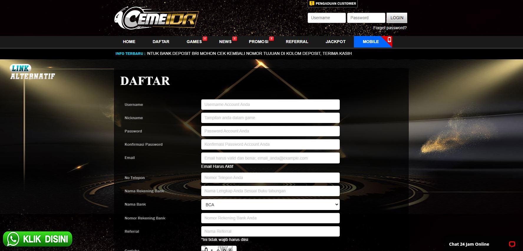 form login ceme online