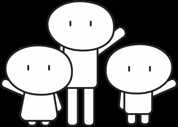 tre menneskelignende figurer som vinker mot deg