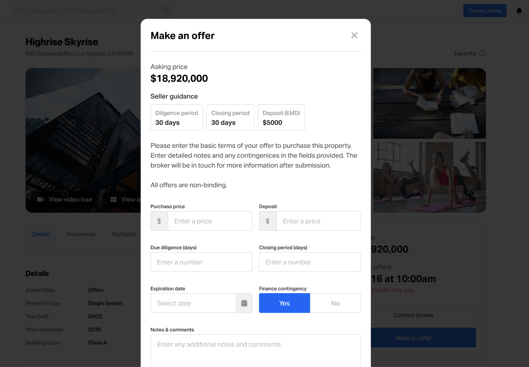 biproxi Make an Offer tool for commercial real estate investors to make offers on properties