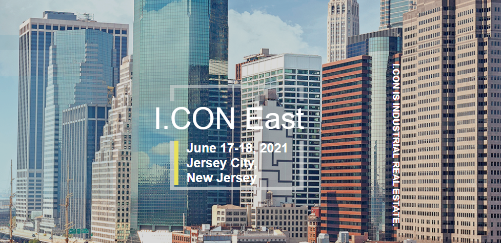 advertising brochure for I.CON East with city scape in the background