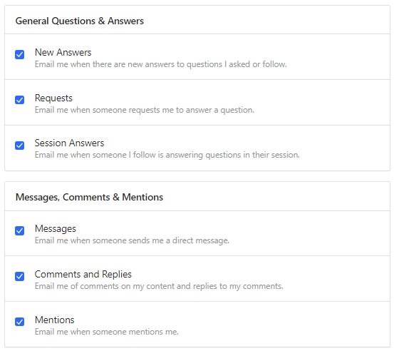 email preferences for Quora topics