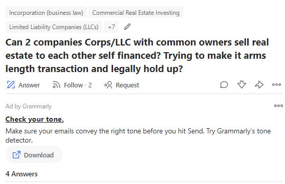 question on quora about complex commercial real estate topic