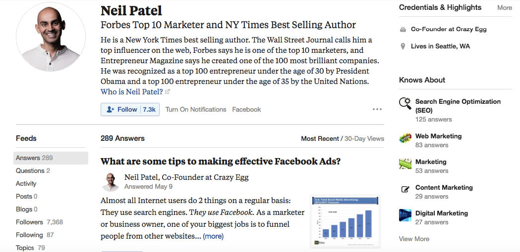 screen shot of neil patel's profile on quora