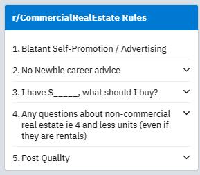 reddit r/commercialrealestate community rules