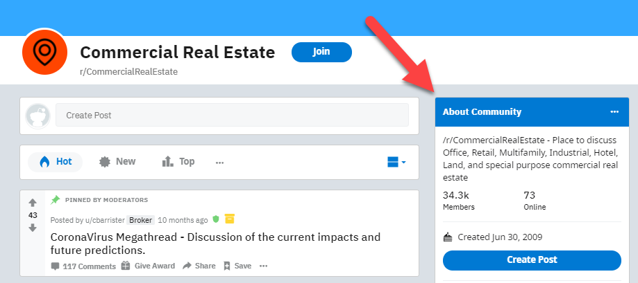 commercial real estate About Community on Reddit