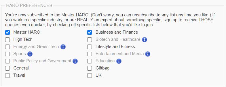 HARO preferences