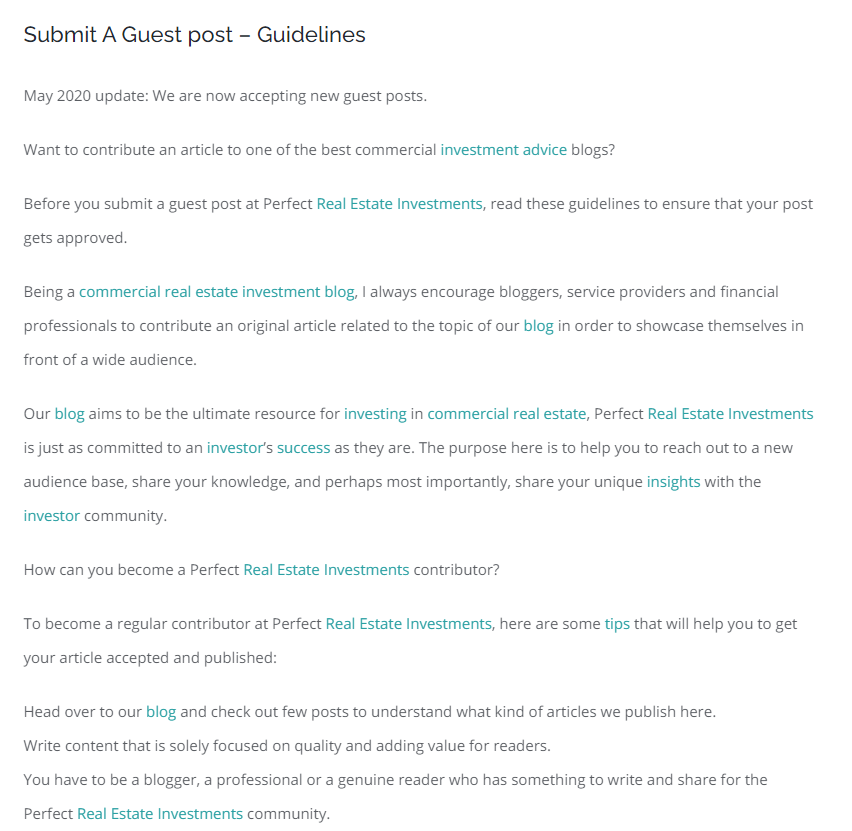 Example of a guest post submission request