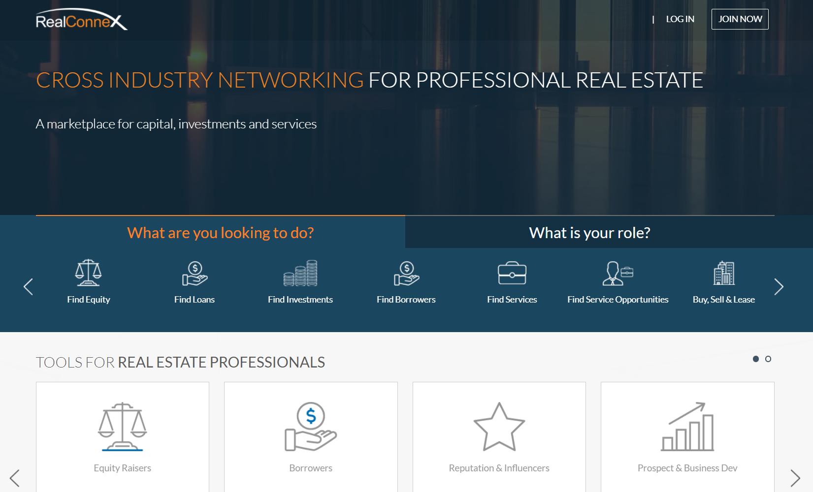 Screenshot of the realeconnex website
