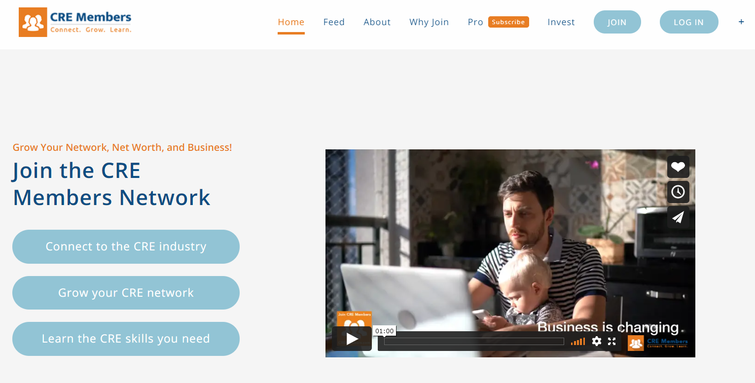 Screenshot of CRE Members website