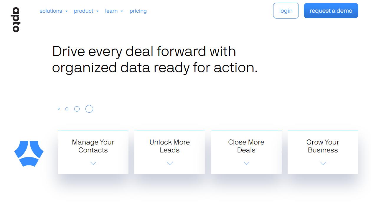 screenshot of Apto website