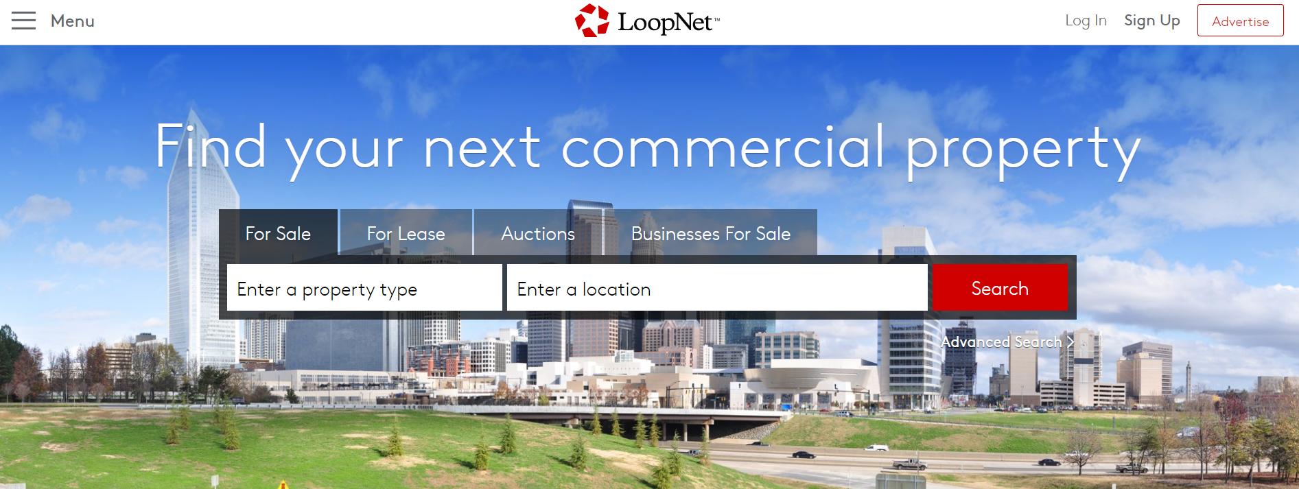 screenshot of the LoopNet website