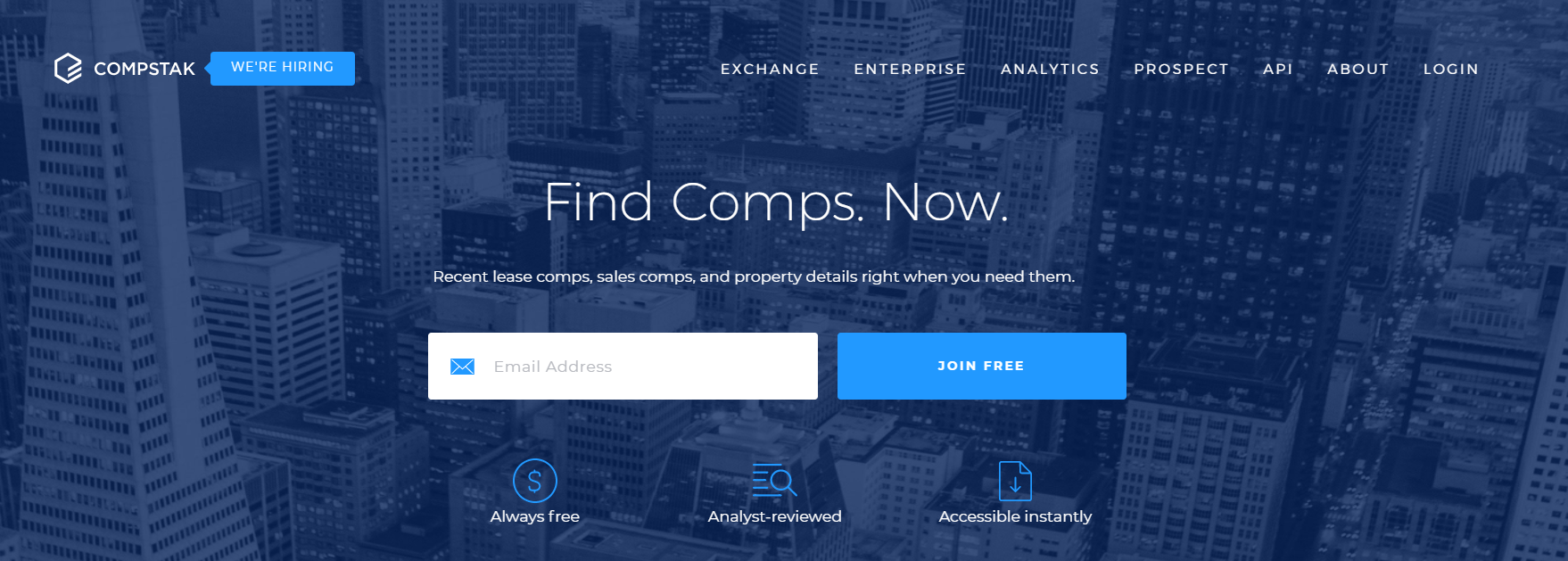 screenshot of the CompStack website