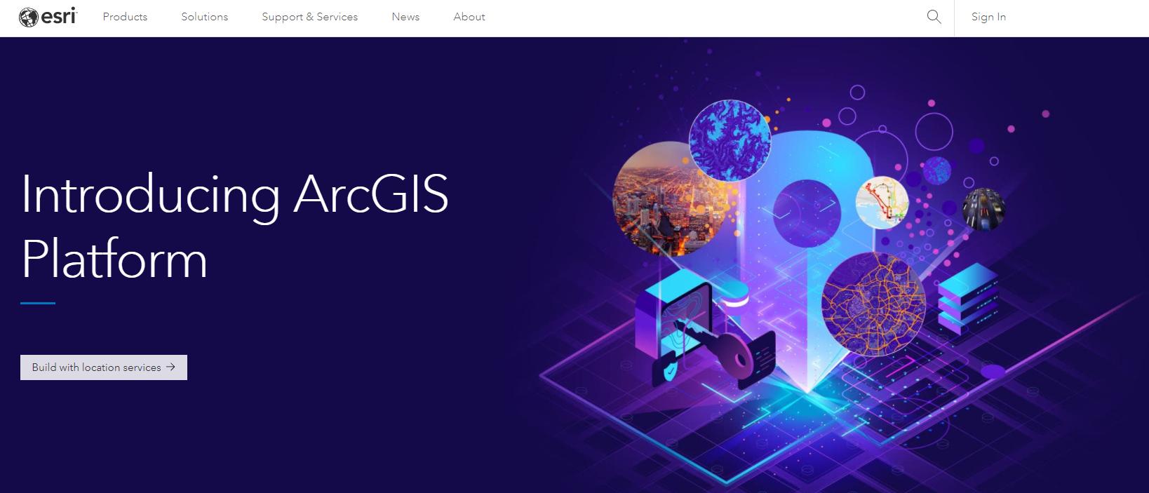 screenshot of the Esri website