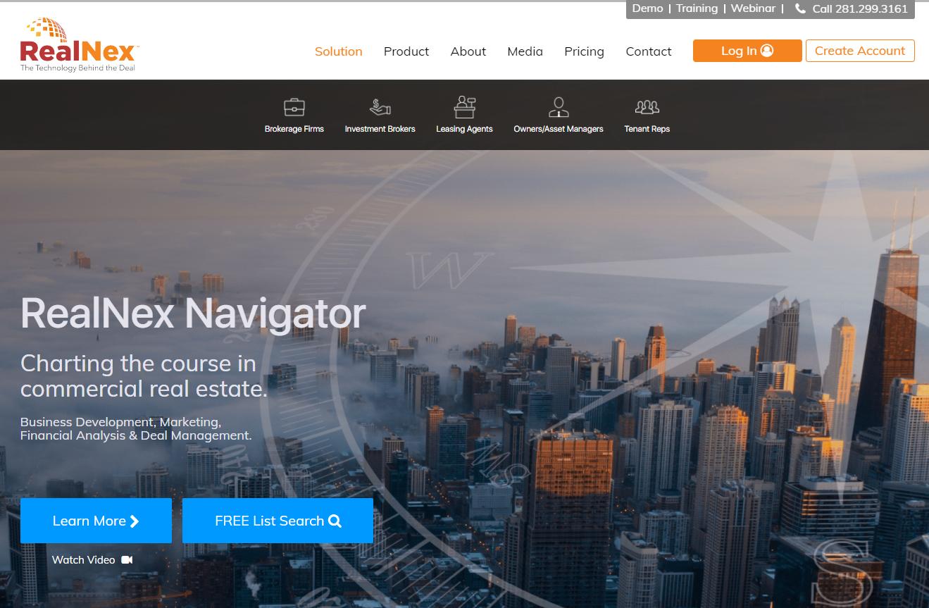 screenshot of the RealNex website