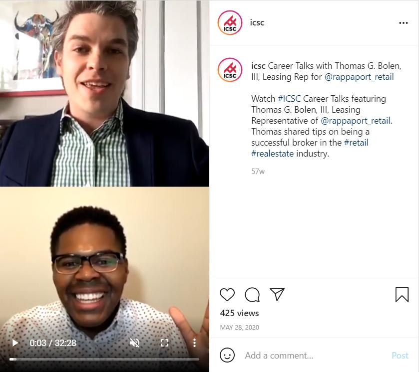 screenshot of a social media conversation from ICSC