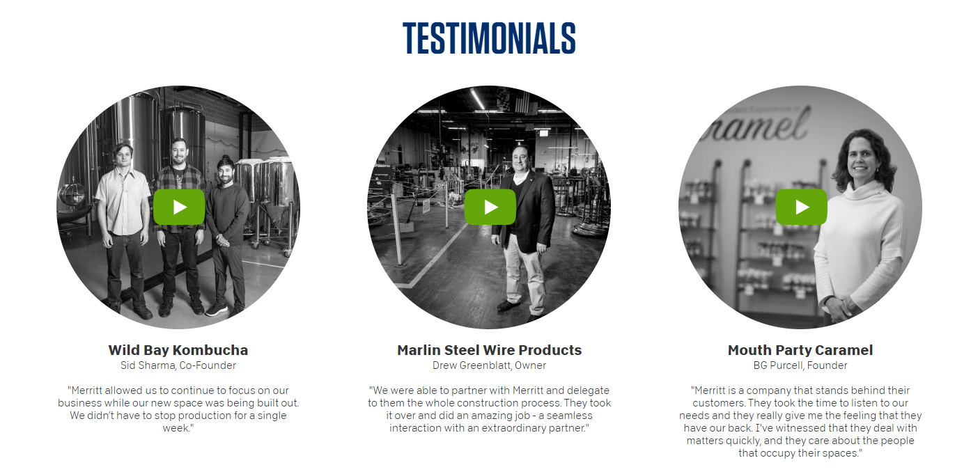 screenshot of Testimonials page from Merritt Properties