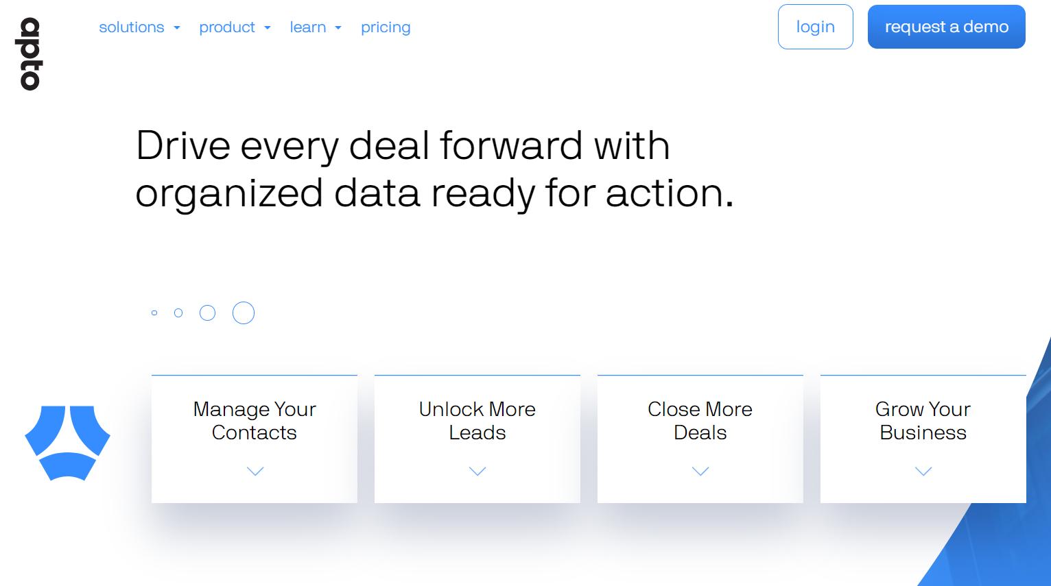 screenshot of Apto Deals' website