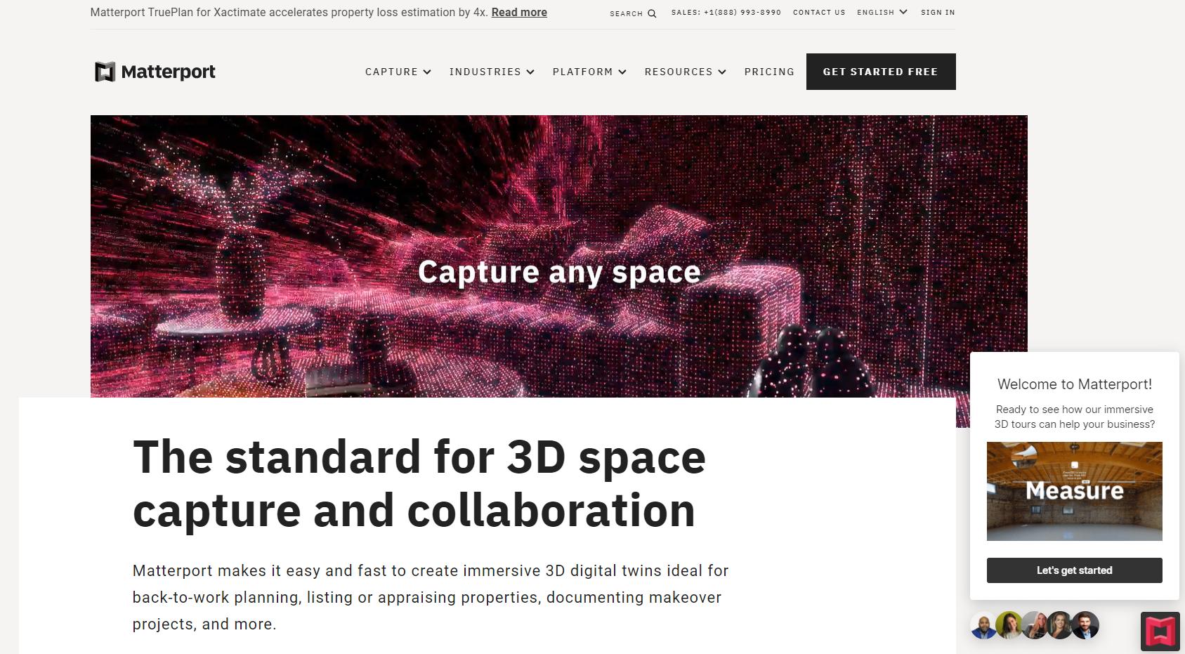 screenshot of Matterport's website