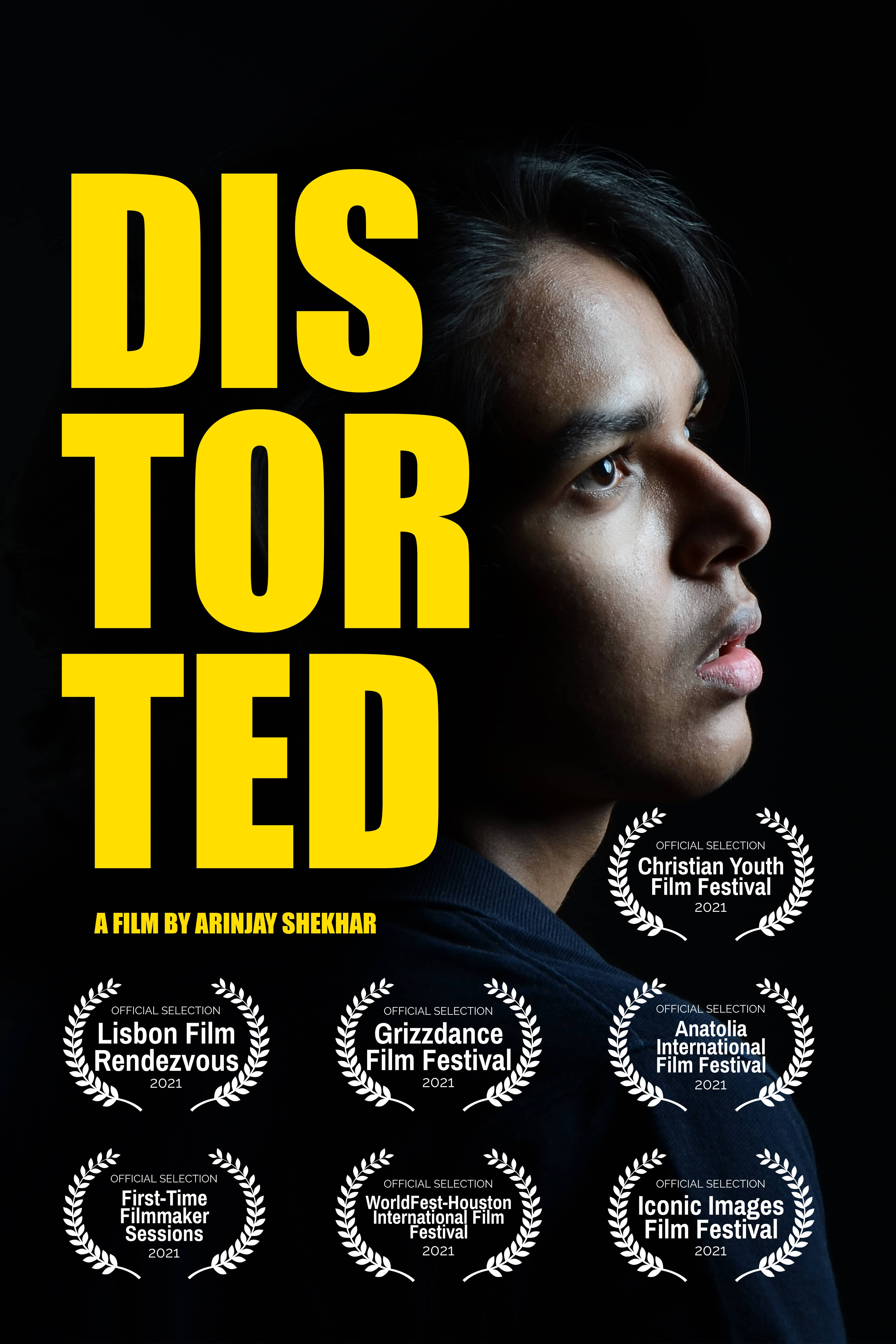 A poster of a short film called distorted.