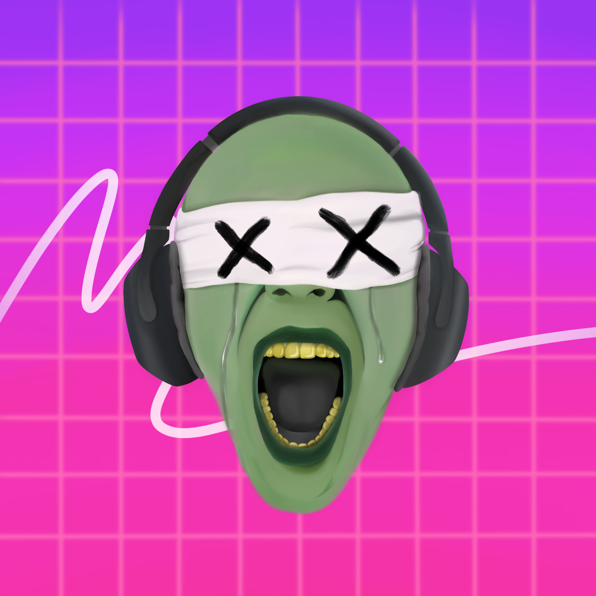 A Painting of a person who crying wearing a blindfold and a headphone and the person is also shouting.