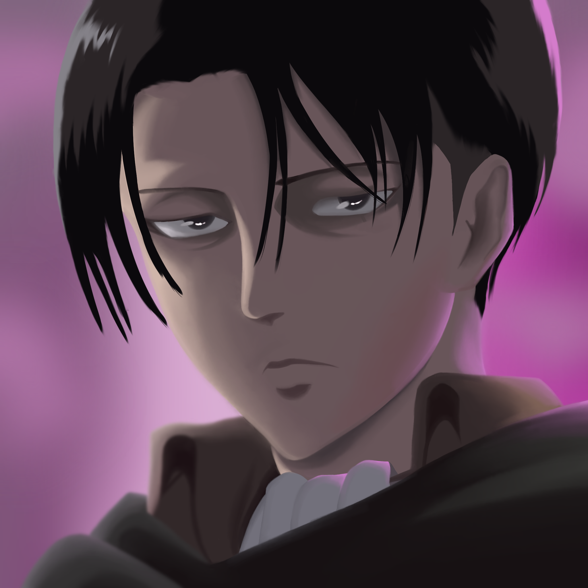A painting of Levi from the famous anime Attack On Titans.