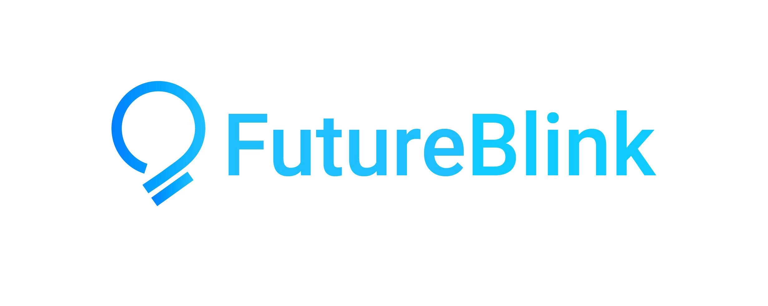A logo for a company called FutureBlink. The logo shows a bulb icon.