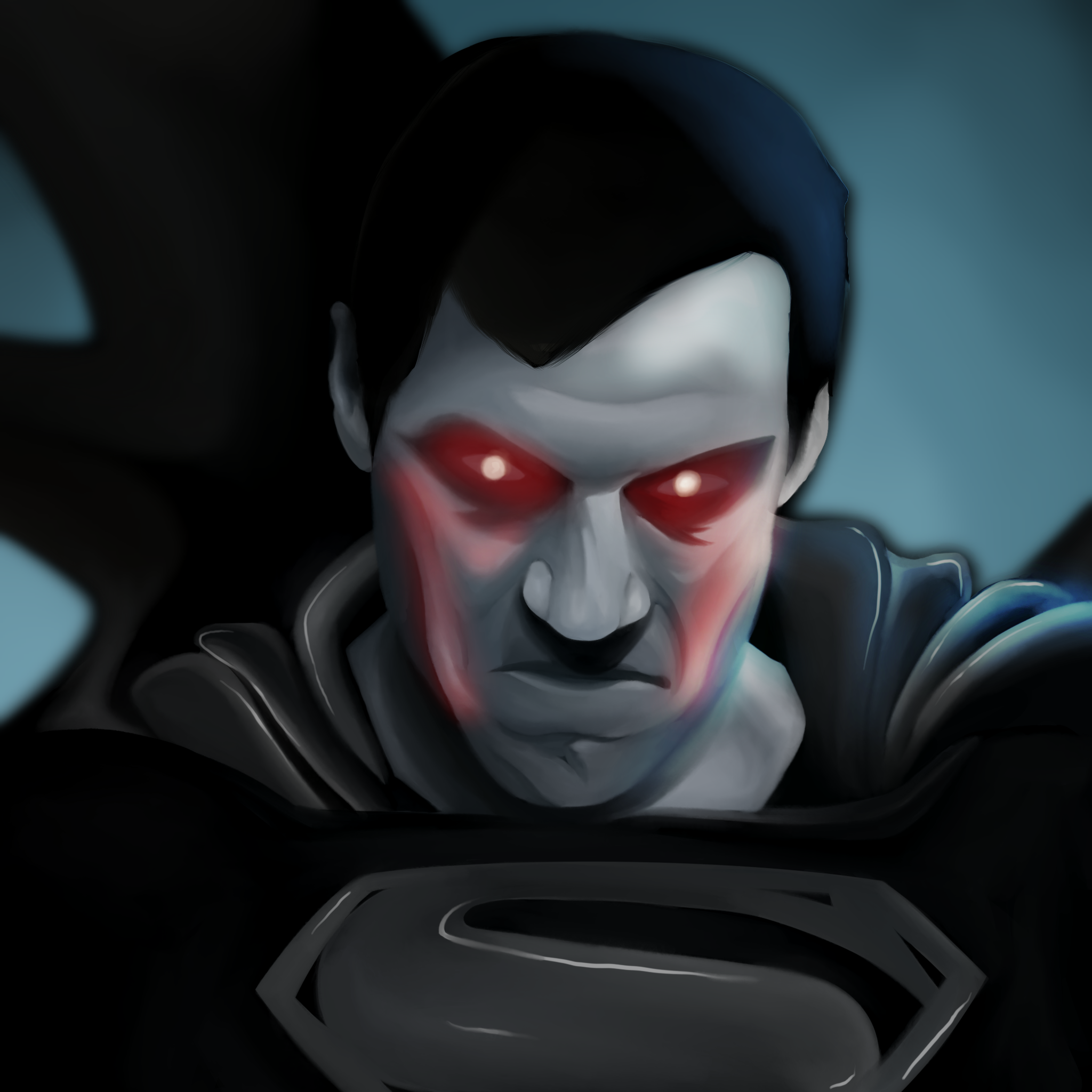 A painting of angry Superman in the black suit with laser in the eyes.