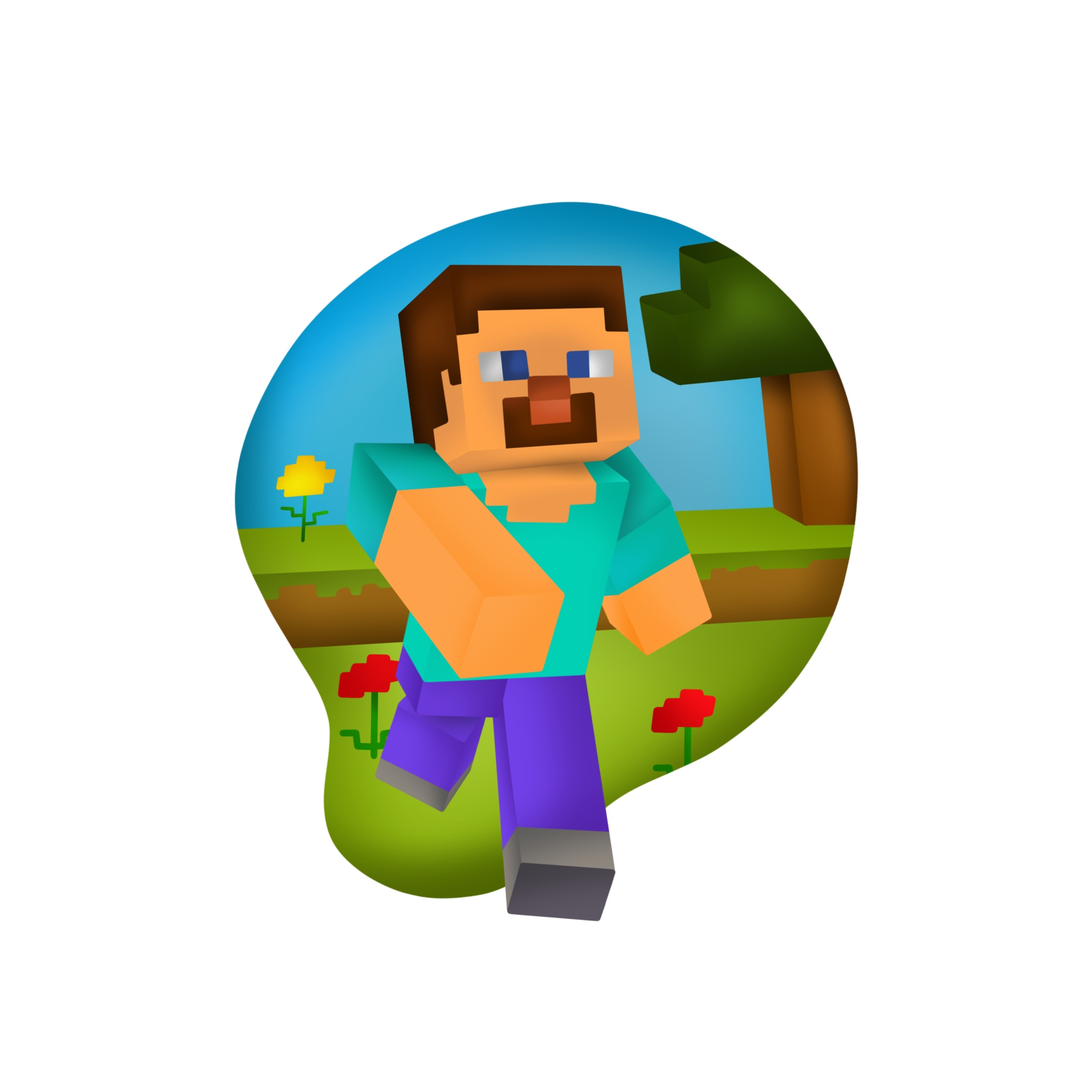 """An illustration of Steve running from the famous game """"Minecraft""""."""