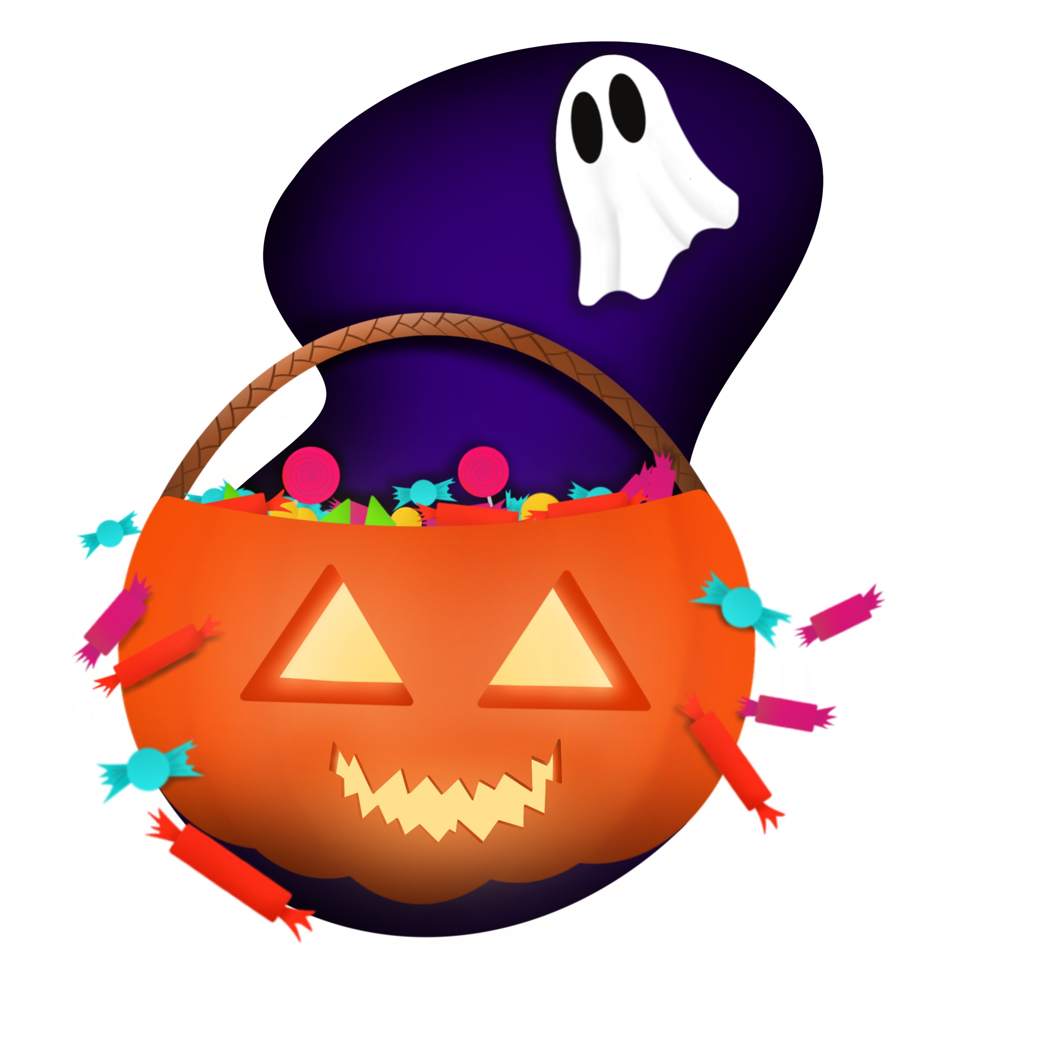 An illustration of a scary pumpkin filled with candies and a floating ghost.