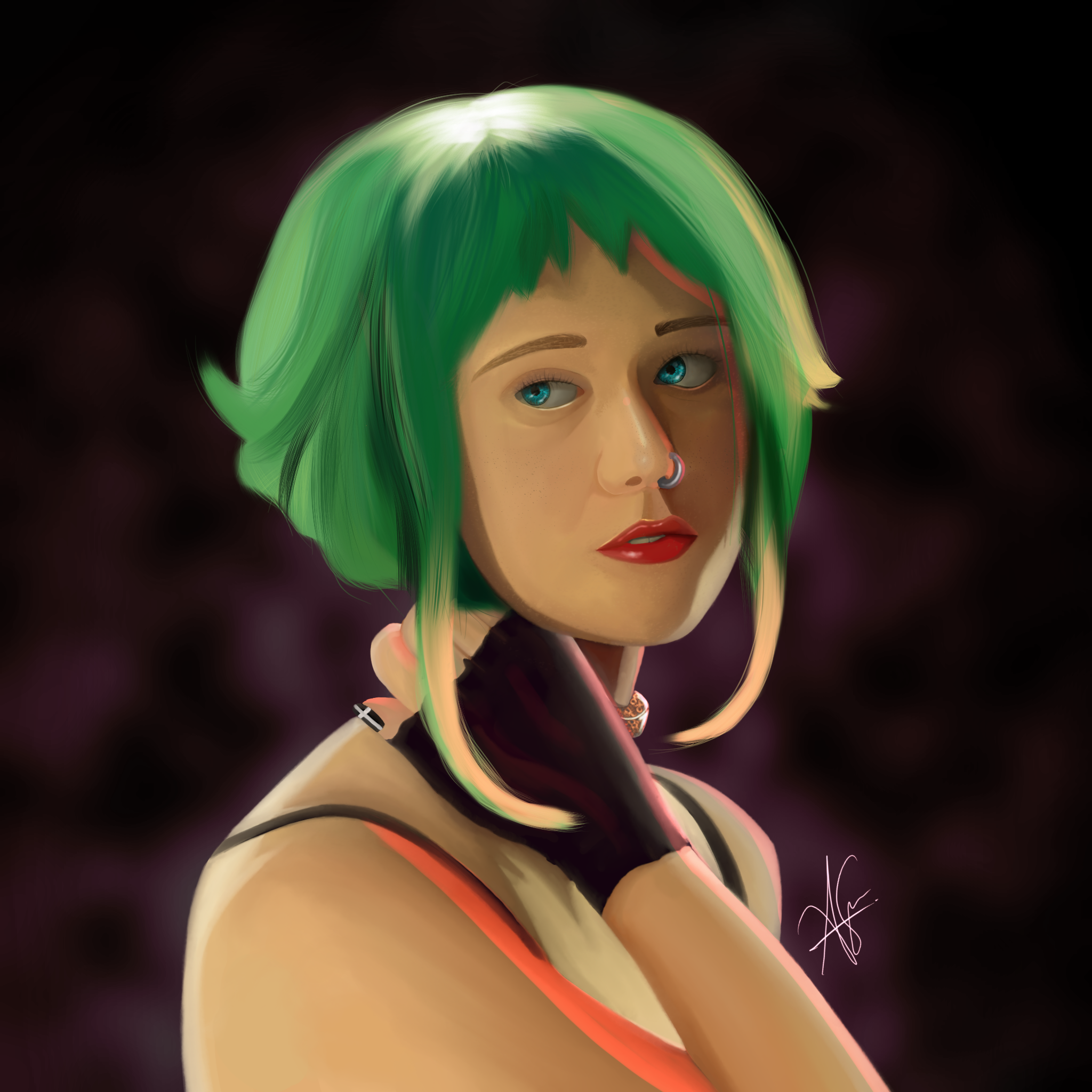 A Painting of a Ramona with green hair. A girl from the movie Scott vs the world.