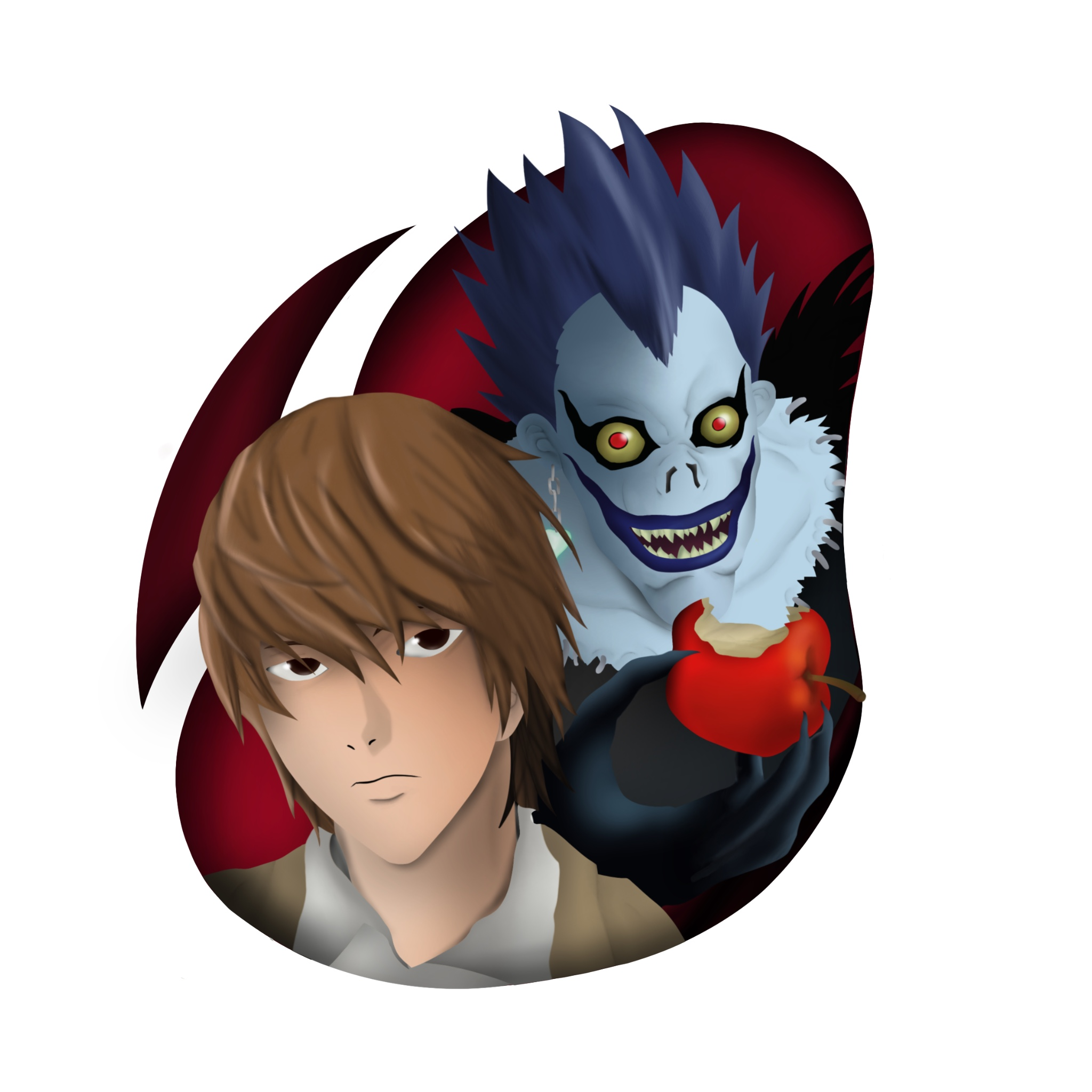 An illustration of Light Yagami and Ryuk from the famous anime Death Note.