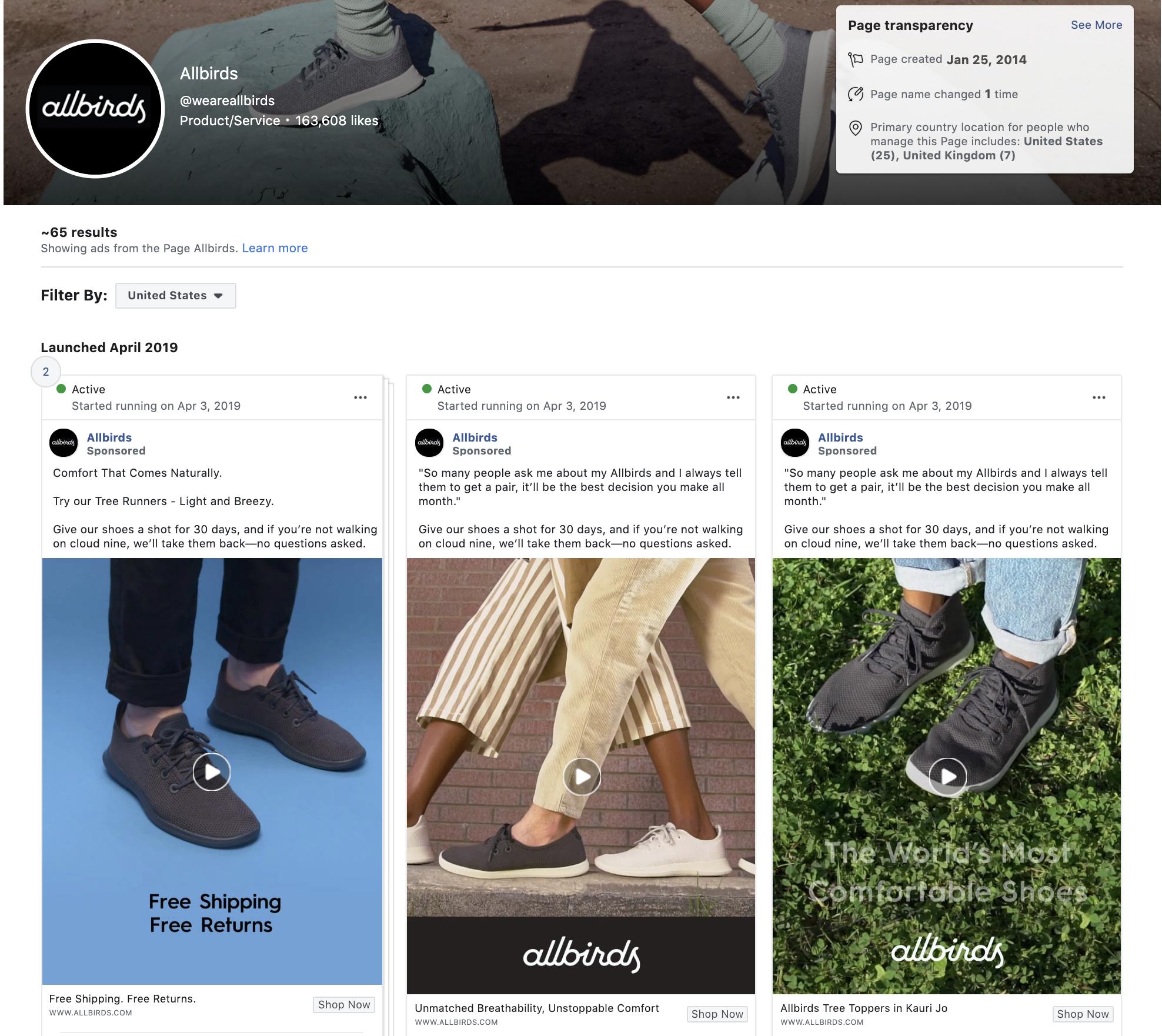 FB Ad Library - Allbirds