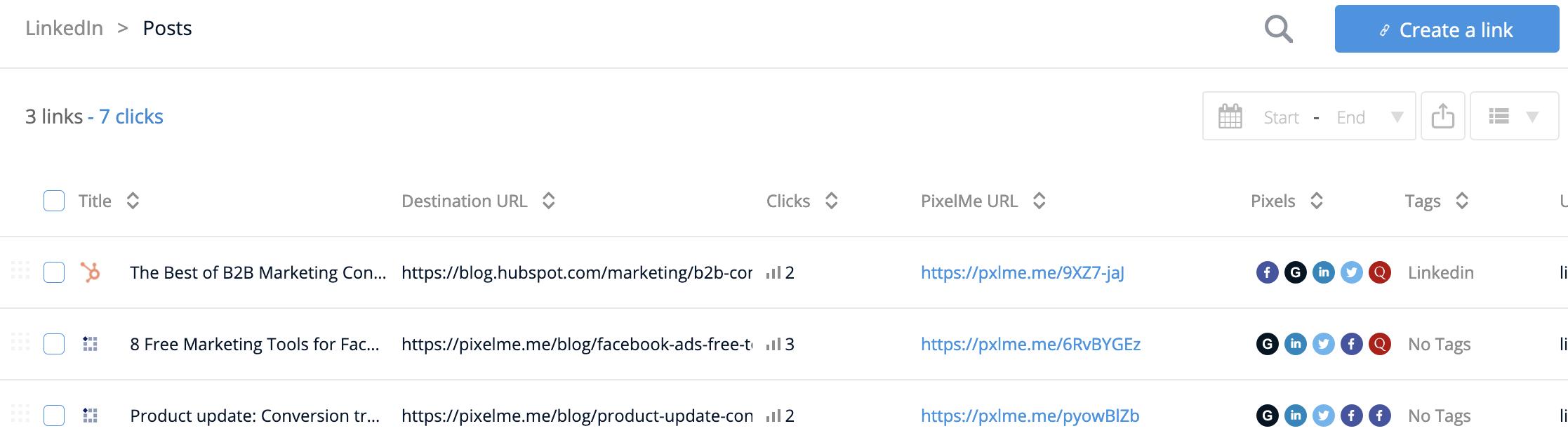 PixelMe links with clicks