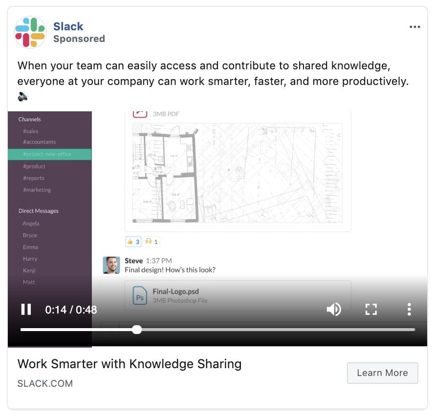 B2B Facebook ad Slack