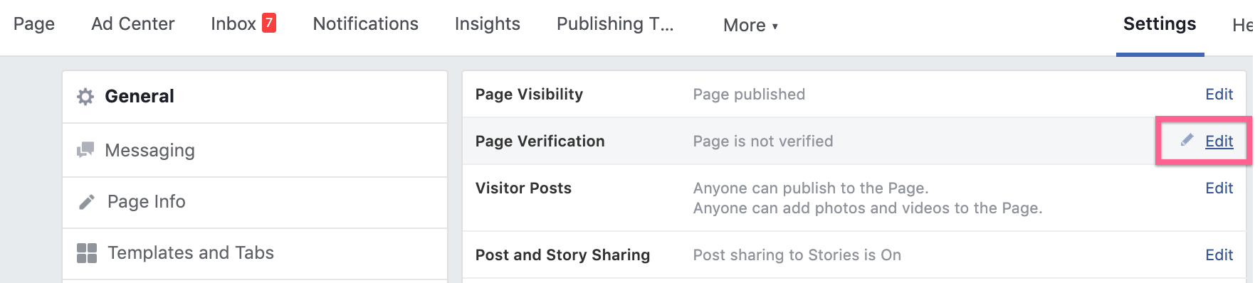 Step 3: Page Verification Edit