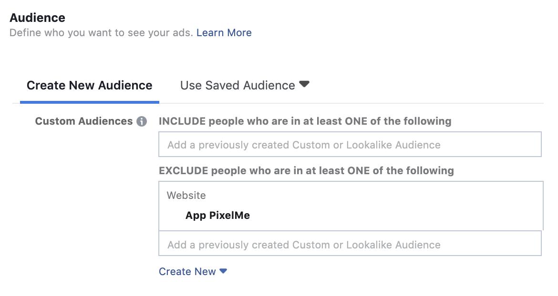 Facebook Custom Audience exclusion