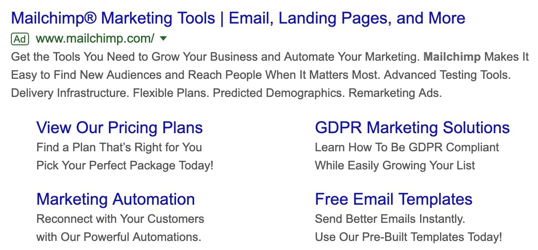 Mailchimp sitelink extensions