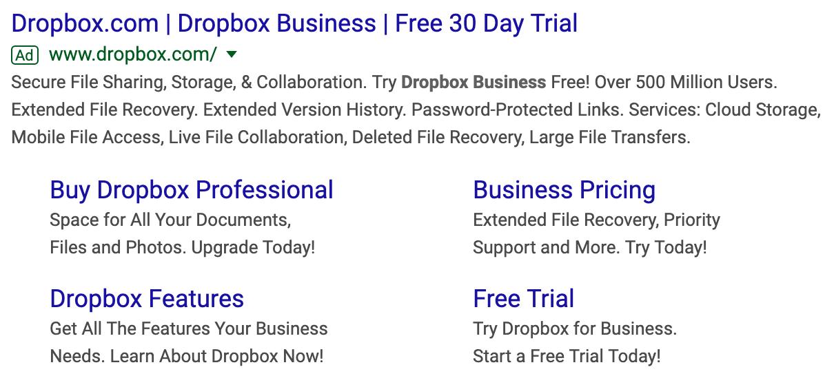 Dropbox Business Google Ad free trial