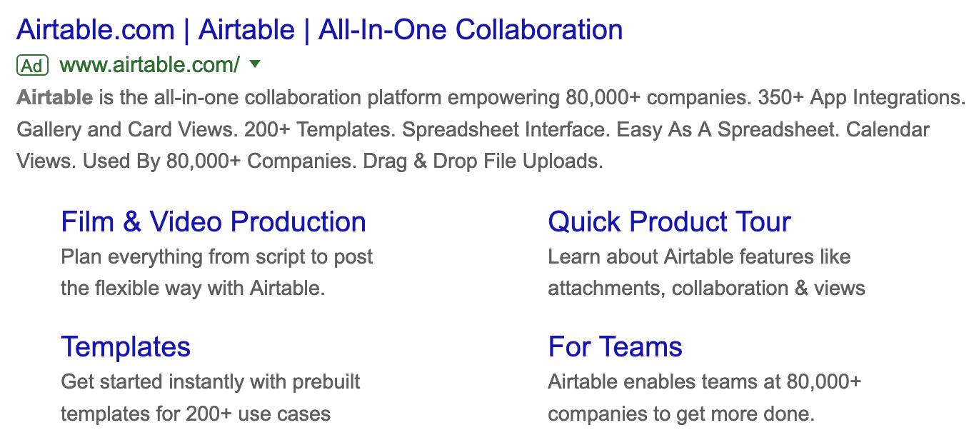 Airtable Google Ad social proof