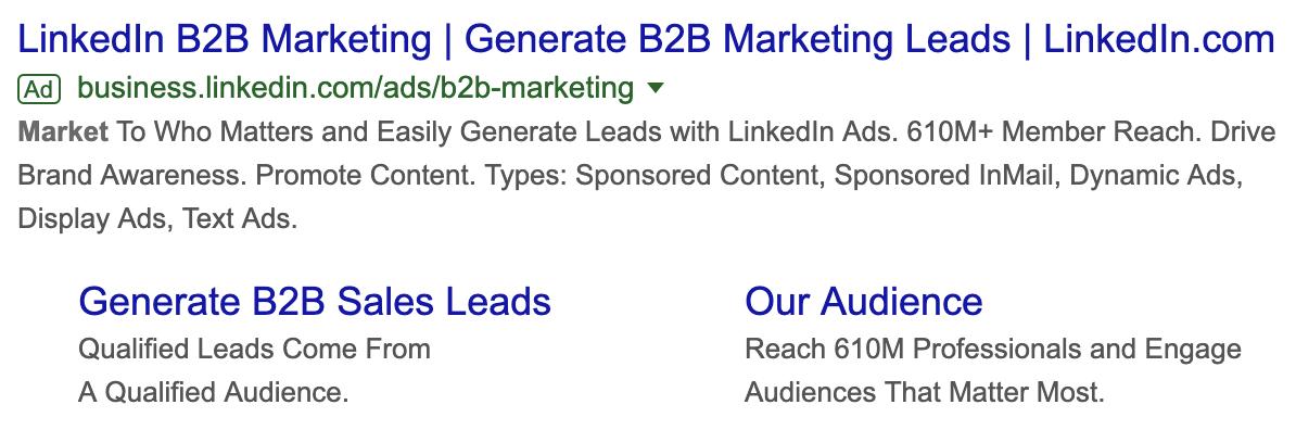 LinkedIn Google Ads landing pages