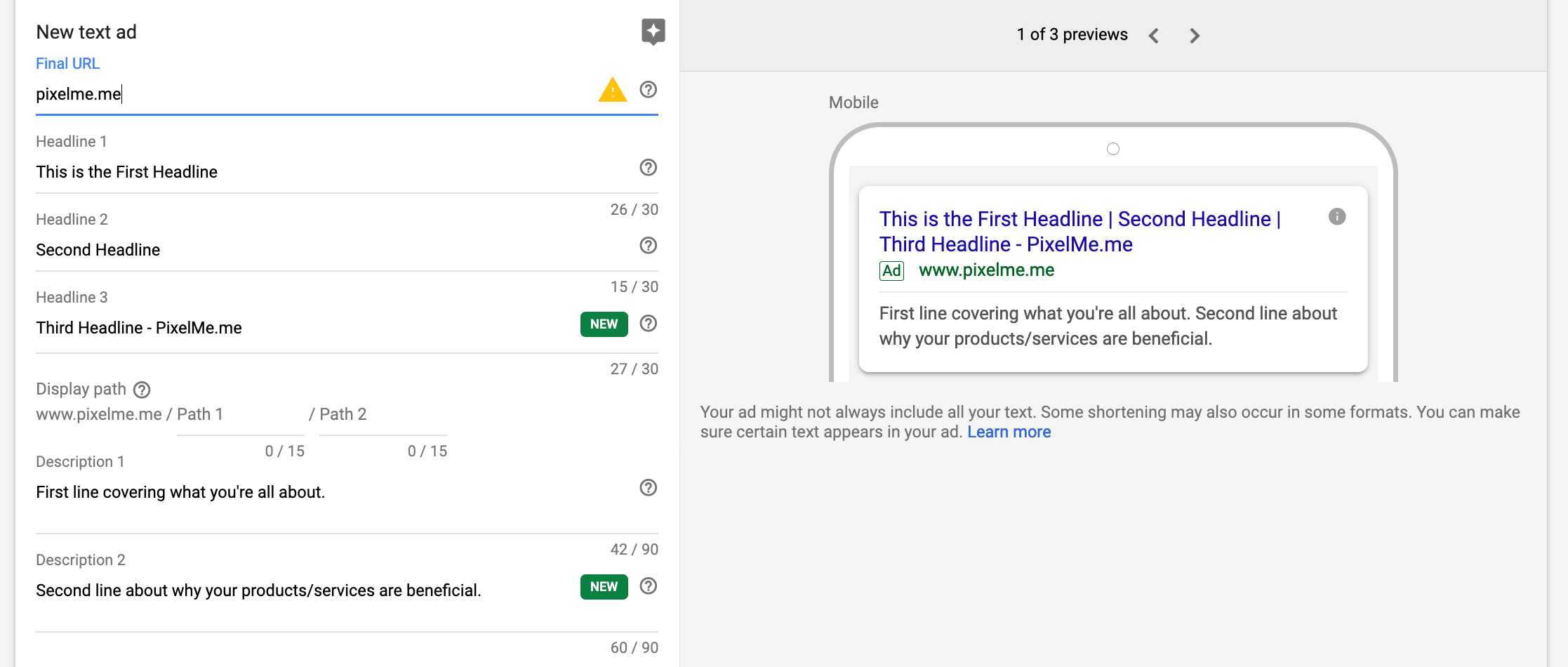 Google Ads components