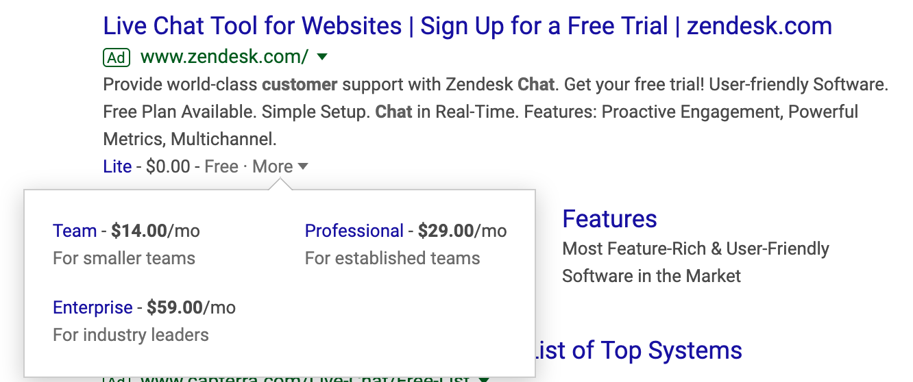 Zendesk Google Ad call extensions