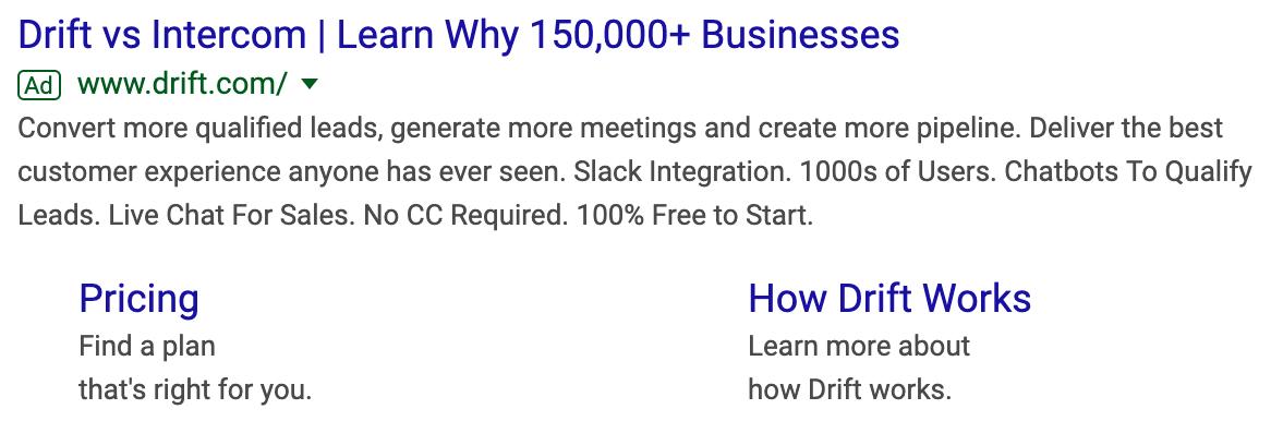 Drift Google Ads competitors