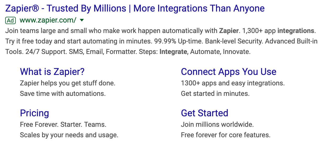 Zapier Google Ads CTAs