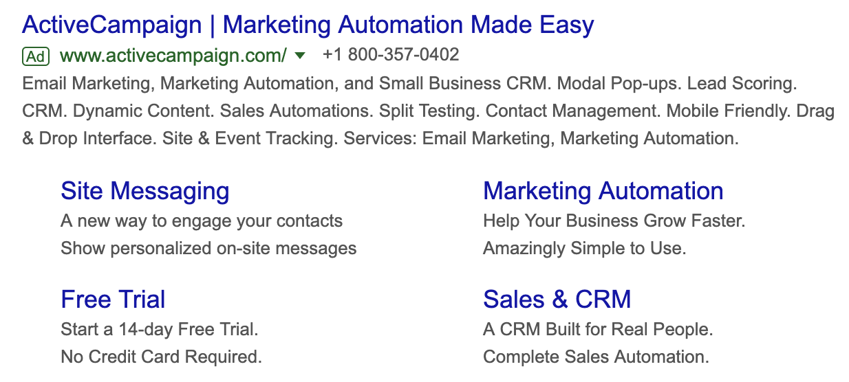 ActiveCampaign Google Ads call extensions