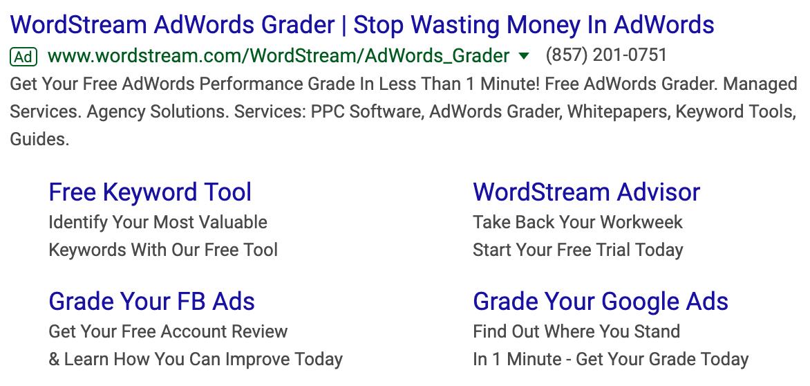 WordStream Google Ads copy