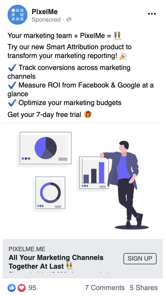 PixelMe engaging Facebook Ad