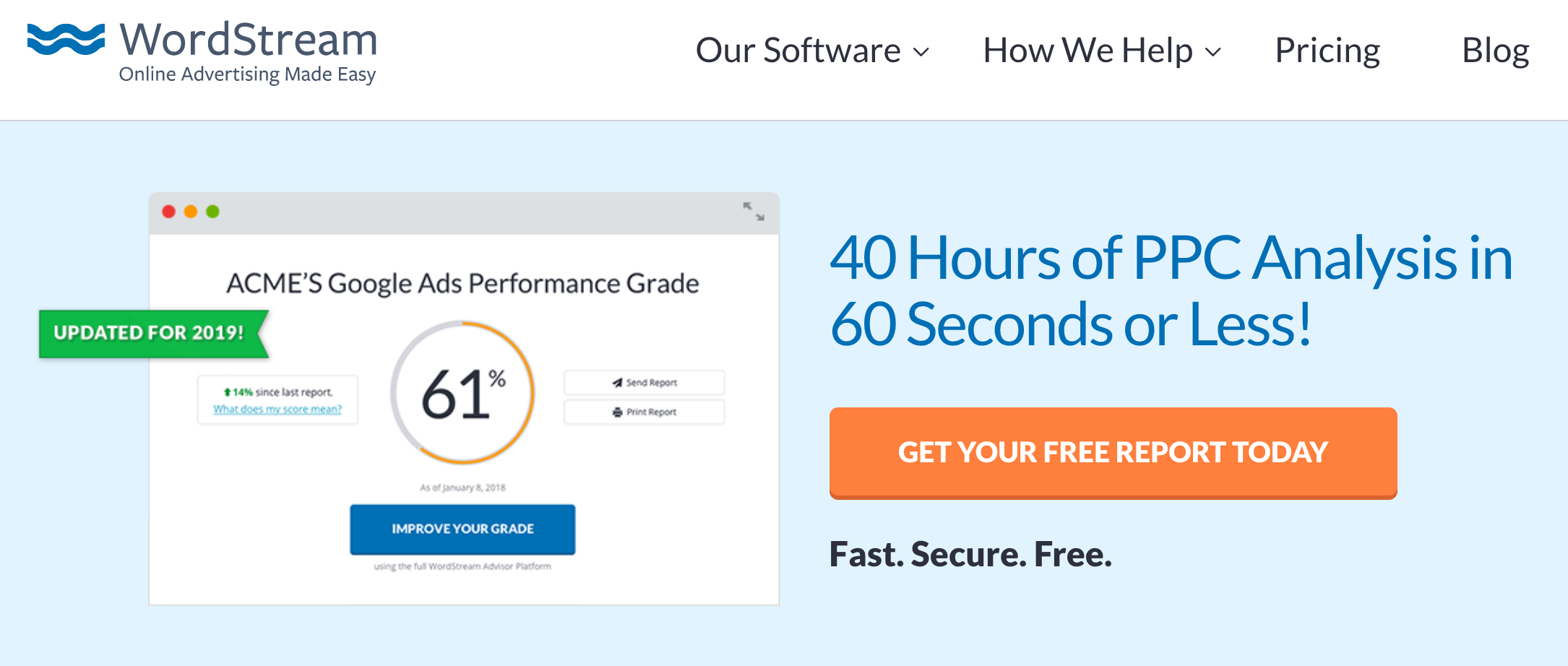 WordStream Google Ads Performance Grade