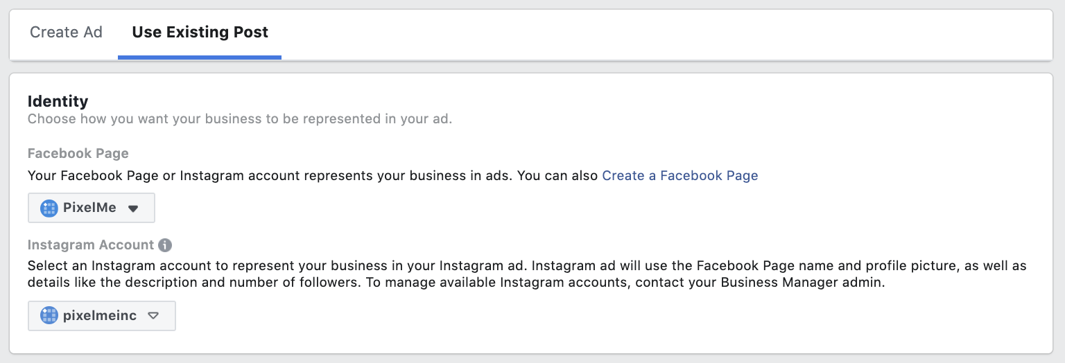 Facebook Ad - Use Existing Post